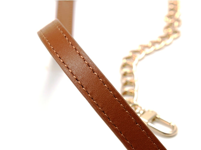 "30"" byhands Genuine Leather Shoulder Bag Strap, Metal Chain, Camel (40-8301)"