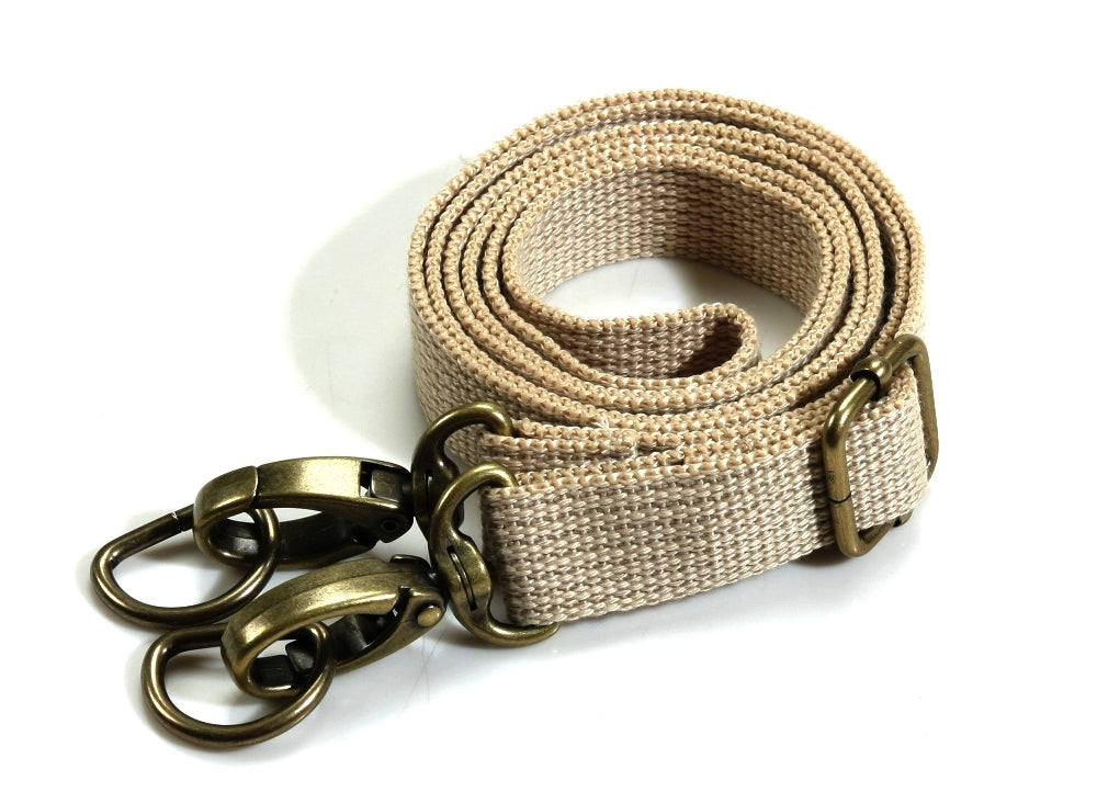 "28.7"" ~ 51.6"" byhands Adjustable Webbing Crossbody Bag Strap, Bronze Style Ring, Beige (44-1321)"