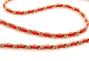 "51"" Synthetic Leather Double Metal Chain Crossbody Bag Strap, Gold Style, Red"
