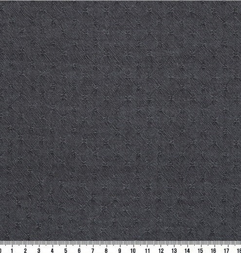 byhands 100% Cotton Yarn-dyed Honey Waffle Style Checkered Fabric, Prussian Gray (EY20053-A)