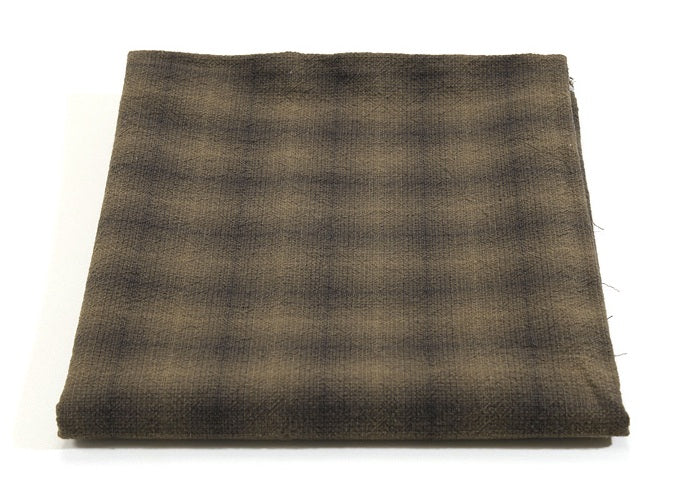 byhands 100% Cotton Yarn-Dyed Fabric, Mini Gradation Checkered Pattern, Brown (EY20062-C)