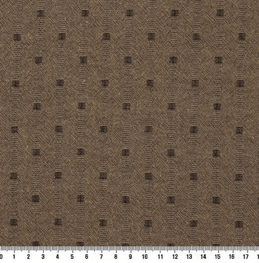 byhands 100% Cotton Yarn Dyed Mini Square Light Series Checkered Pattern Fabric, Light Sepia (EY20074-C)