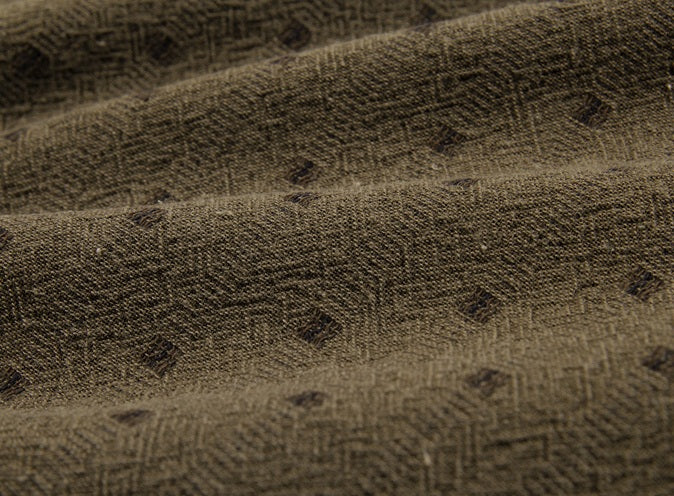 byhands 100% Cotton Yarn Dyed Mini Square Light Series Checkered Pattern Fabric, Olive Brown (EY20074-D)