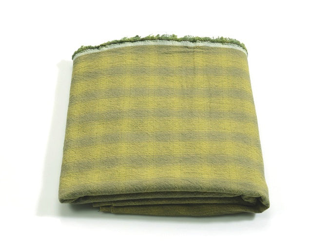 byhands 100% Cotton Yarn Dyed Breakfast Series Checkered Pattern Fabric, Yellow Green (EY20076-D)