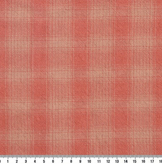 byhands 100% Cotton Yarn Dyed Breakfast Series Checkered Pattern Fabric, French Red (EY20076-F)