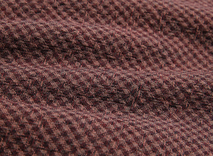 byhands 100% Cotton Yarn Dyed Mini Triple Checkered Fabric, Purple Wine (EY20077-B)