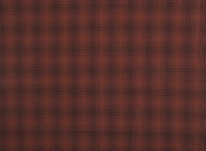 byhands 100% Cotton Yarn-Dyed Fabric, Tattersall Checkered Pattern, Red Orange (EY20080-A)