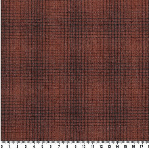 byhands 100% Cotton Yarn-Dyed Tattersall Checkered Pattern Fabric, Red Orange (EY20080-A)