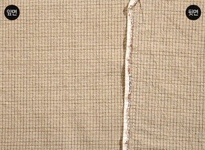 byhands 100% Cotton Yarn-Dyed Fabric, Trend Mini Check Pattern, Beige (EY20081-M)