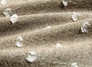 byhands 100% Cotton Yarn Dyed Fabric - Milk Dot Pattern Checkered Series Fabric, Sand Brown (EY20084-2)