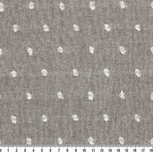 byhands 100% Cotton Yarn-Dyed Fabric, Milk Dot Pattern Checkered Series Fabric, Sepia (EY20084-3)