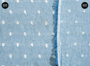 byhands 100% Cotton Yarn Dyed Fabric - Milk Dot Pattern Checkered Series Fabric, Sky Blue (EY20084-6)