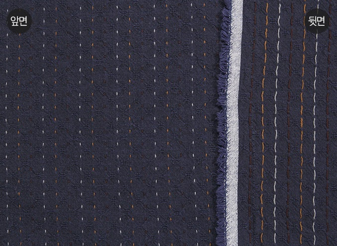 byhands 100% Cotton Yarn Dyed Fabric - Line Stitch Pattern, Blue Indigo (EY20089-B)