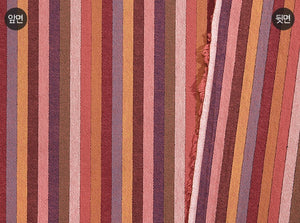 byhands 100% Cotton Yarn Dyed Fabric - Multi Stripe Pattern, Cranberry Tone (EY20091-E)
