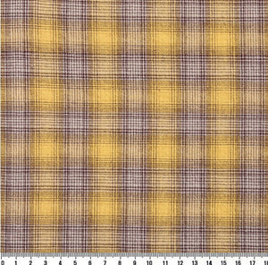 byhands 100% Cotton Yarn Dyed Fabric - Vintage Checkered Pattern, Honey Gold (EY20093-B)