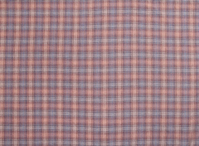 byhands 100% Cotton Yarn Dyed Fabric - Vintage Checkered Pattern, Coral Blue Heaven (EY20093-D)