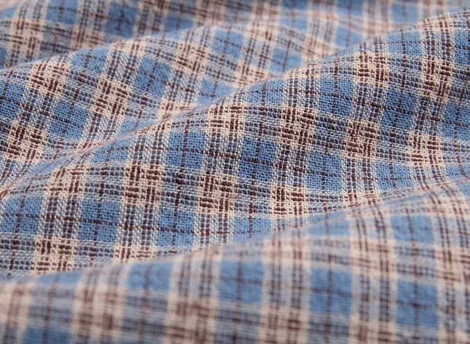 byhands 100% Cotton Yarn Dyed Fabric, Country Style Checkered Pattern, Blue Heaven (EY20094-A)