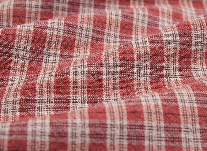 byhands 100% Cotton Yarn Dyed Fabric, Country Style Checkered Pattern, Coral (EY20094-E)