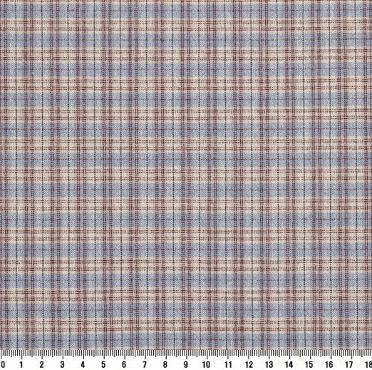 byhands 100% Cotton Yarn Dyed Fabric, Country Style Checkered Pattern, Stone Blue (EY20094-F)