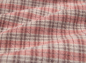 byhands 100% Cotton Yarn Dyed Fabric, Country Style Checkered Pattern, Peach (EY20094-I)