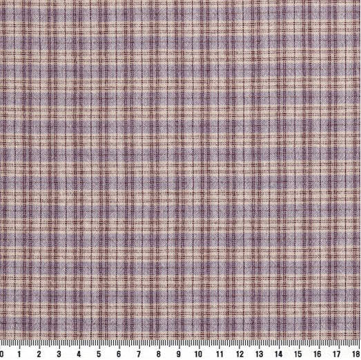 byhands 100% Cotton Yarn Dyed Fabric, Country Style Checkered Pattern, Lavender (EY20094-K)