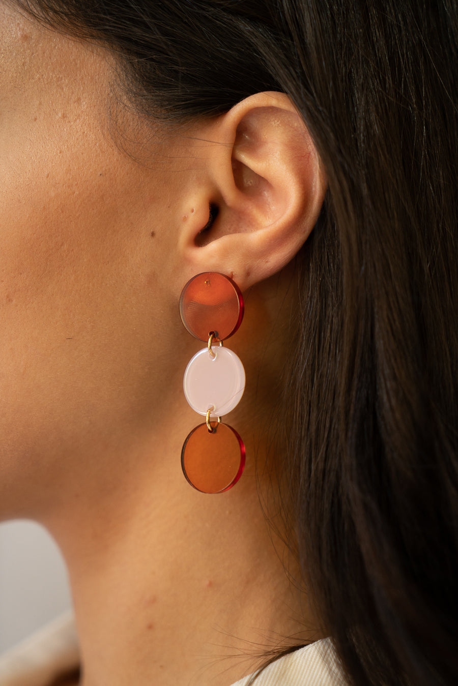 Trio Earrings in Tangerine & Cake