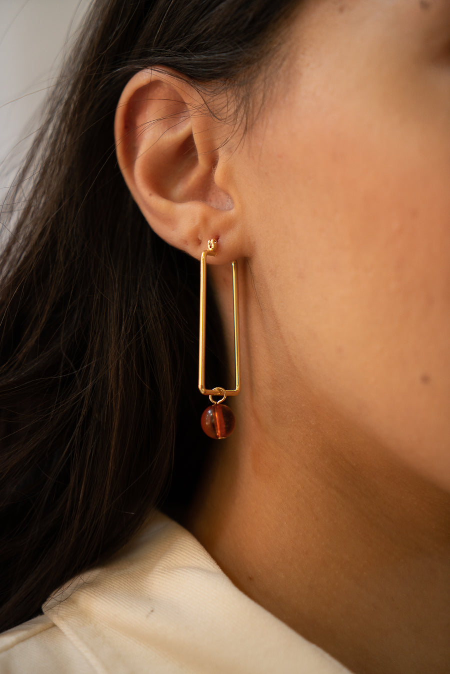 Pia Mismatched Hoops in Tangerine & Cake