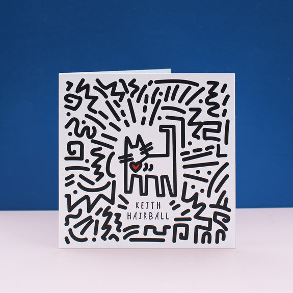 Keith Hairball (Haring) Cat Card