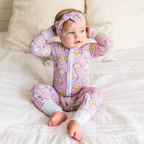 Pink Breakfast Bamboo Convertible Romper/Sleeper