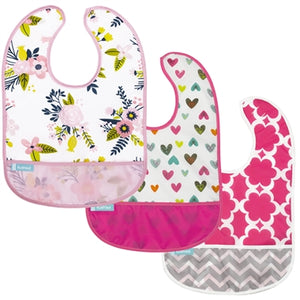 Cleanbib 3-pack | Hearts / Pink Chevron / Flowers