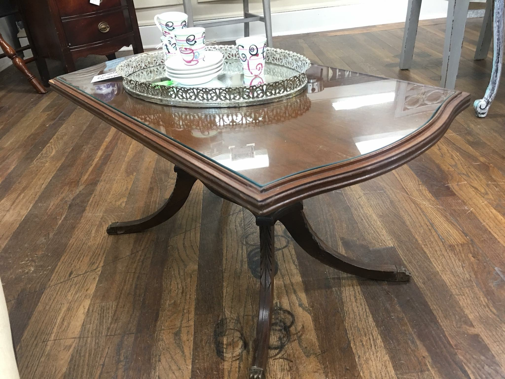 Duncan Phyfe Coffee Table W Glass Top Lemons And Lace Marketplace