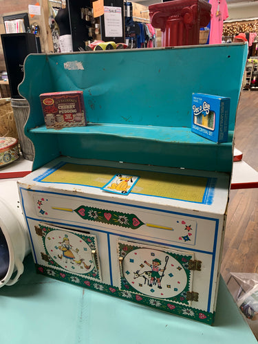 Antique Child's Play Kitchen Cabinet Metal