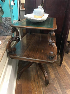 Antique Two Tier End Table with Leather Top