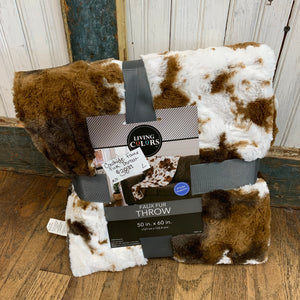 Cowhide Print Faux Fur Throw