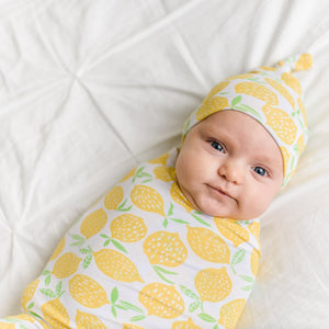 Lemons Bamboo Swaddle & Knotted Hat Set