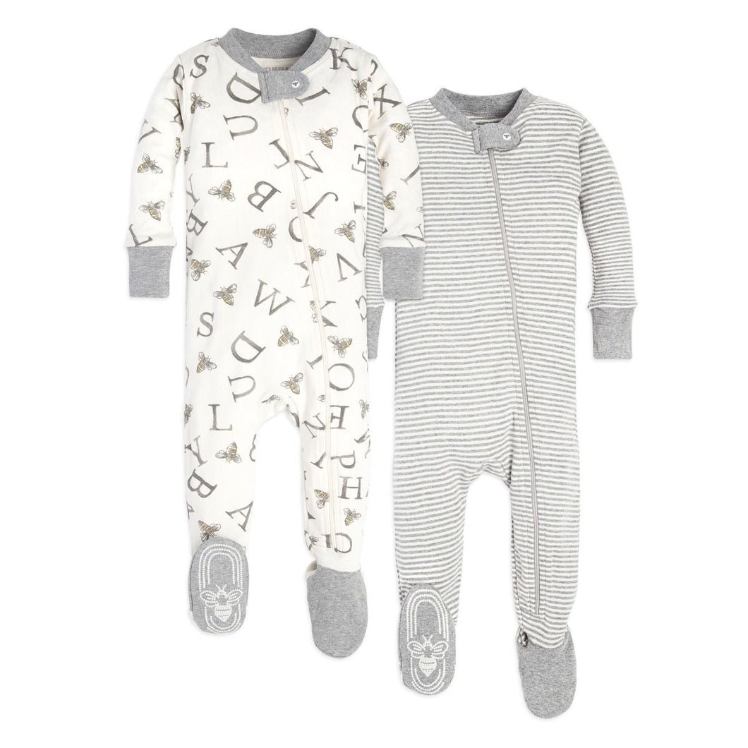 Baby Set of 2 Organic Cotton Zip Front Footed Pajamas