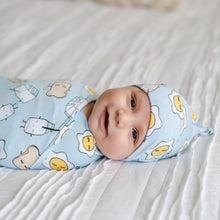 Blue Breakfast Buddies Bamboo Swaddle & Knotted Hat Set