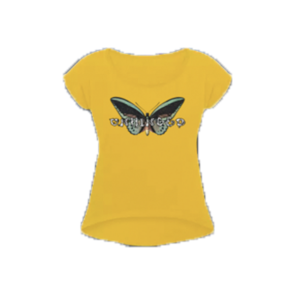 UNHINGED BUTTERFLY ROLL CUFF T-SHIRT (Yellow)