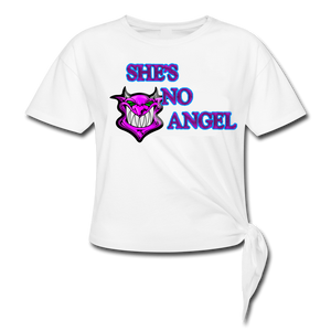 SHE'S NO ANGEL KNOTTED T-SHIRT (White)