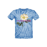 UNHINGED YELLOW FLOWER T-SHIRT (Blue Tie Dye)