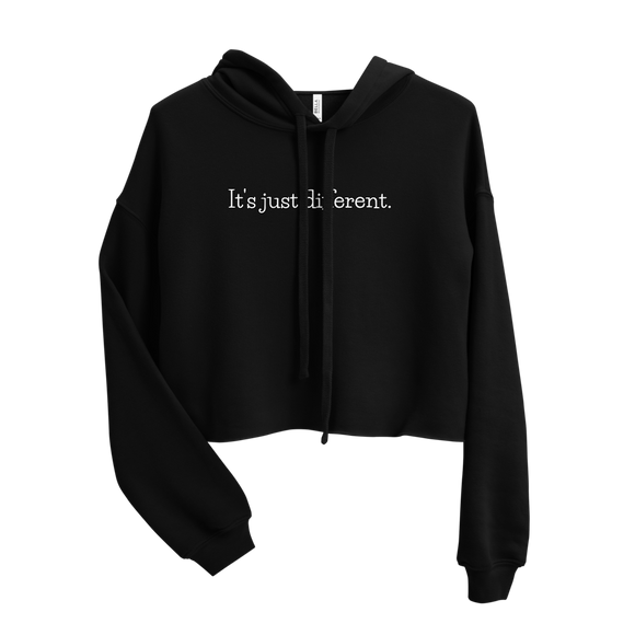 IT'S JUST DIFFERENT WOMENS CROP HOODIE (Black)