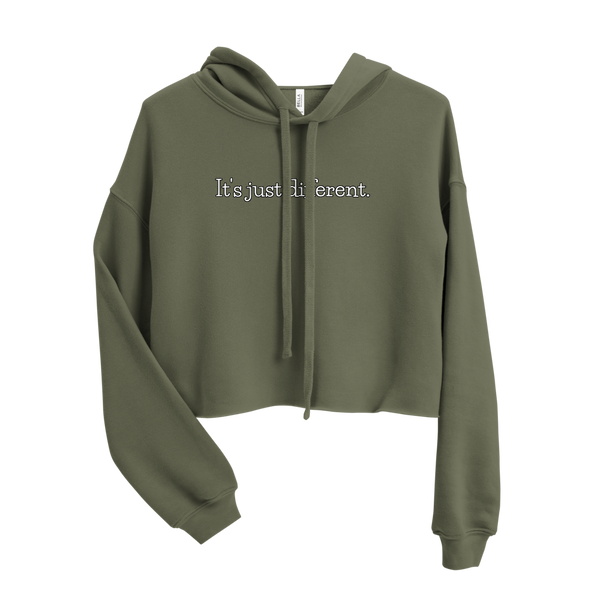 IT'S JUST DIFFERENT WOMENS CROP HOODIE (Olive Green)