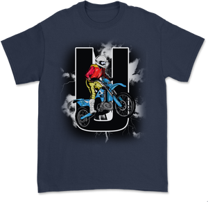 UNHINGED MOTO STUNT T-SHIRT (Navy)