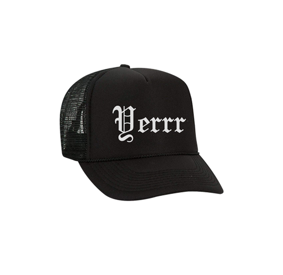 YERRR OLD ENGLISH TRUCKER HAT (Black)