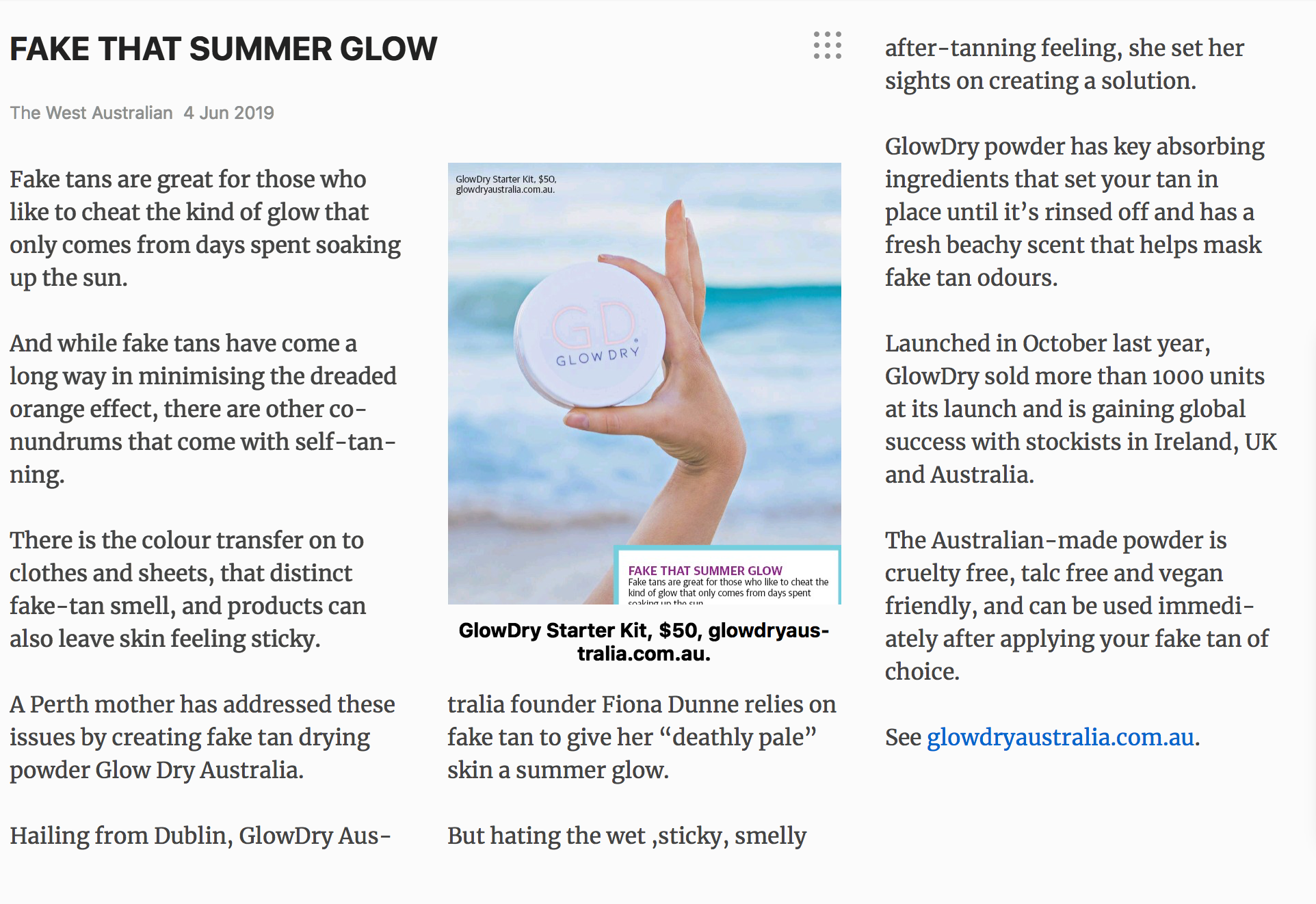 Fake that summer glow - The West Australian Article June 2019