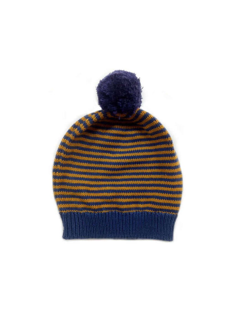 Big Pom Pom Stripe Baby Hats