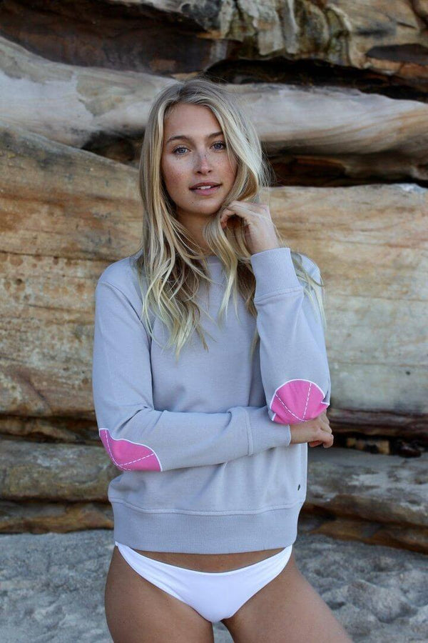 Classic Windy EST 1971 Jumpers - French Grey with Hot Pink
