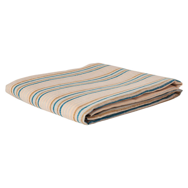 Lio Stripe Turquoise Linen Flat Sheet - Queen & King
