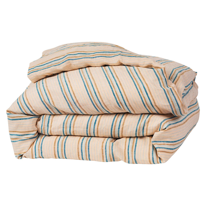 Lio Stripe Turquoise Linen Quilt Cover - Queen & King