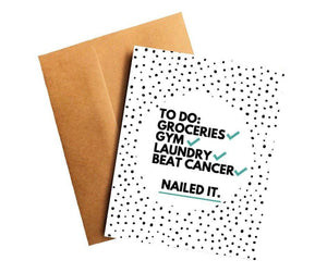 Beat Cancer Nailed It Funny Cancer Survivor Get Well Card Better and Co.